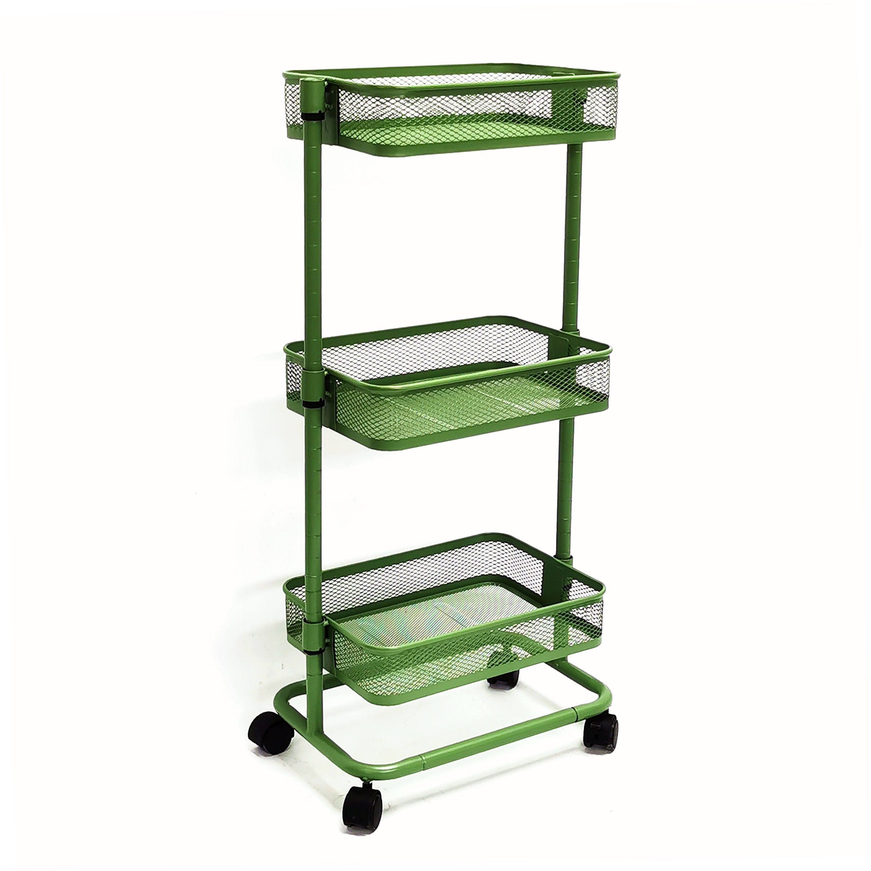 3-Tier Metal Rolling Utility Cart Rolling Kitchen Cart with Adjustable Shelves Easy Assembly Storage Trolley with Lockable Wheel