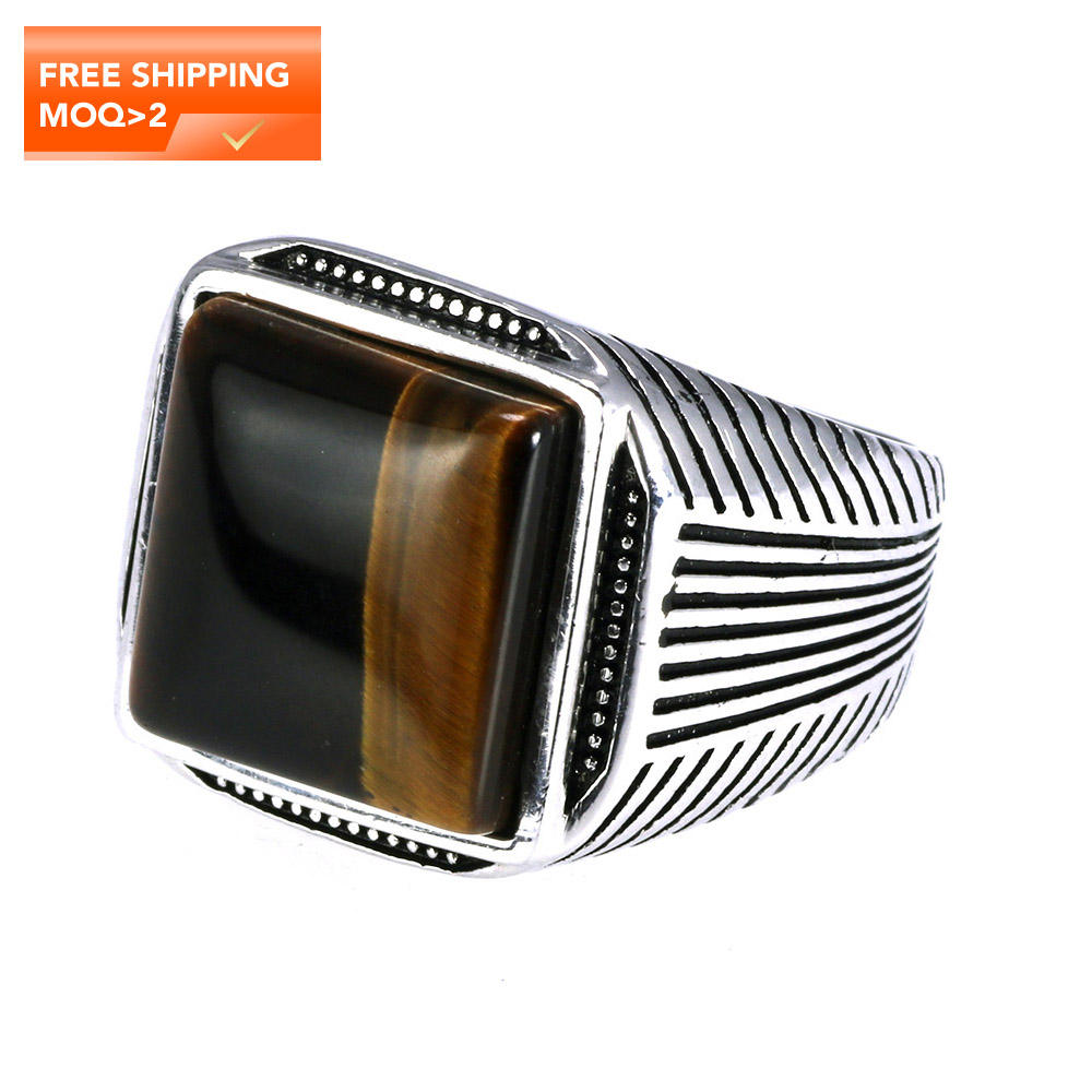 Authentic Sterling Silver 925 Man Ring With Tiger Eyes Fine Jewelry Stripe Pattern Natural Stone Cool Retro Punk Custom Jewelry
