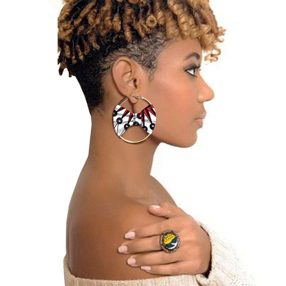 african accessories New arrival fashion earrings african print fabric hoop earrings accessory