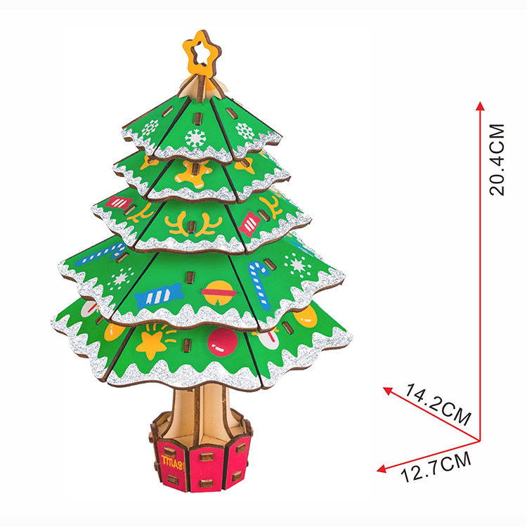 Wholesale Manufacturer Assembly Game Educational Christmas Tree Decoration Educational Game 3d Wooden Puzzle Toy