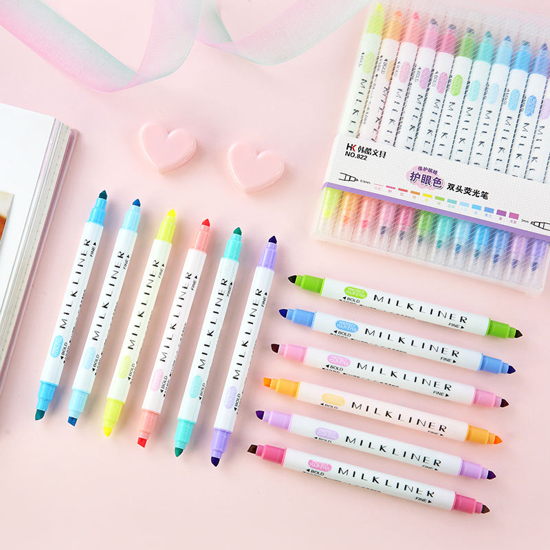 School supplies kawaii stationery 12pcs set cute Double head marker pen fancfluorescent pen mildliner liquid high lighter pen