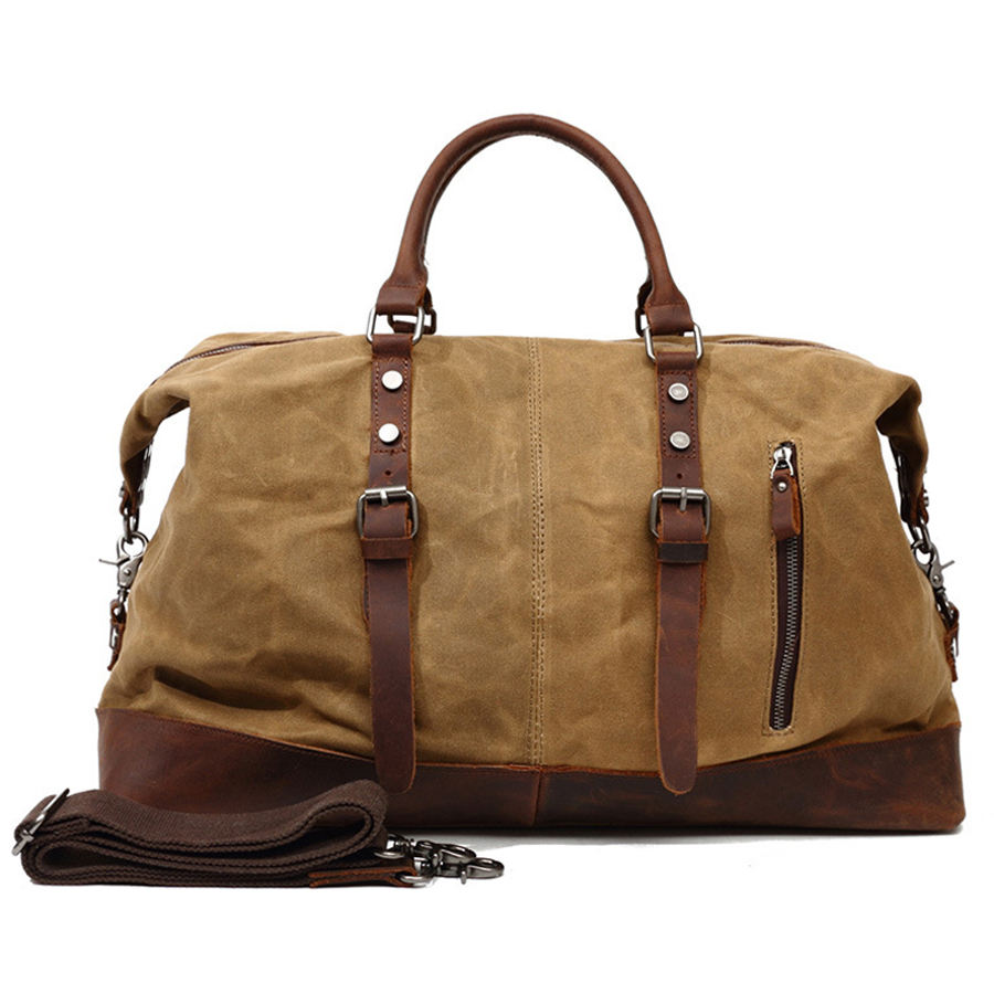 Canvas Leather Travel Duffel Bag for men Gym Sports Weekender Luggage Carry on Airplane Leather bag