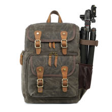 Wholesale Large Capacity Casual Waterproof Waxed Canvas Leather Video Camera Bag Backpack