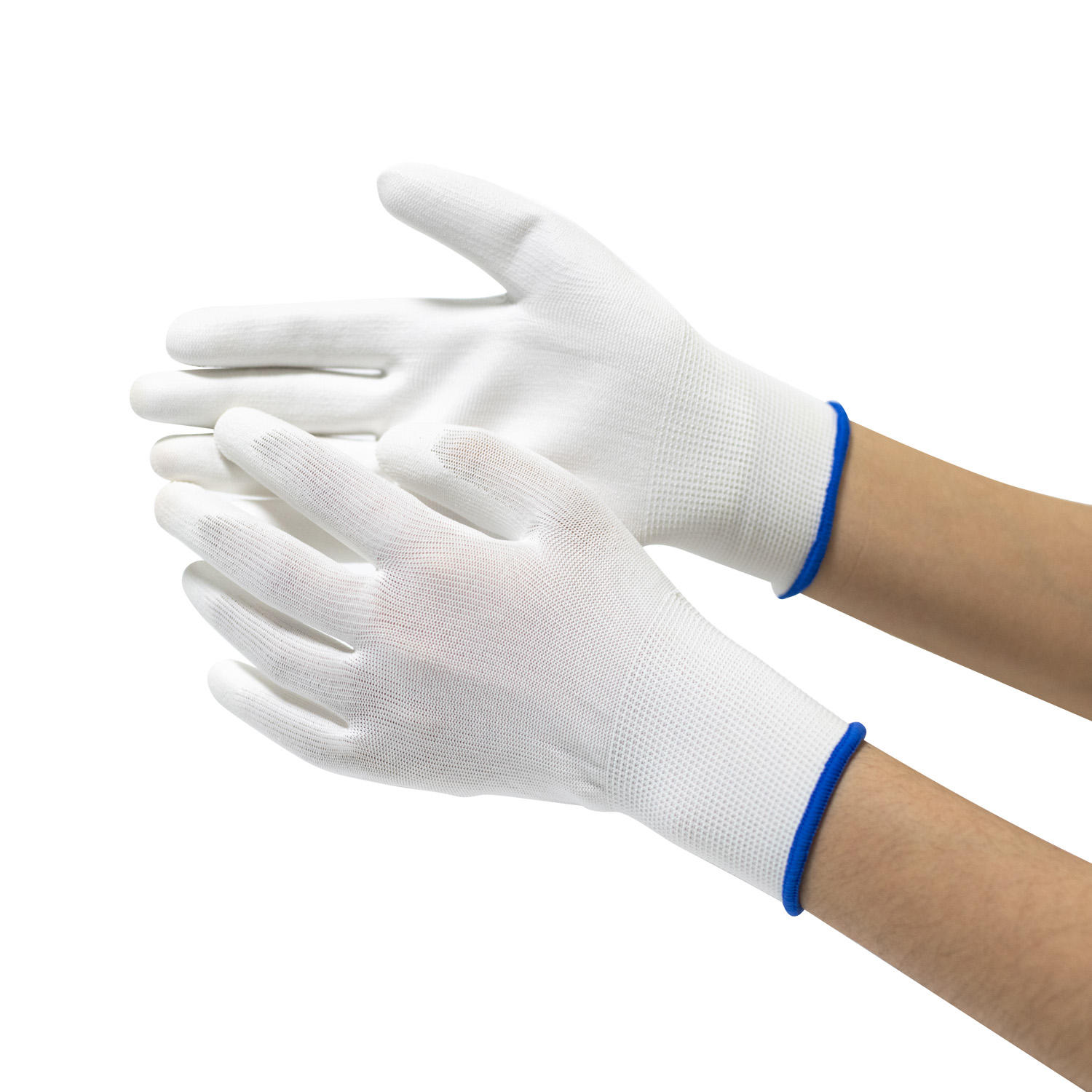 CE Packaging work Premium quality 13 gauge polyester White PU coating safety gloves EN 388
