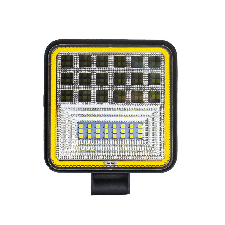Factory new design hot sell 4 inch square sharp led work light 126w work lamp with yellow aperture portable light