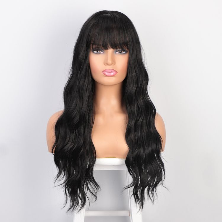 Aisi Hair Cheap Loose Curl Black Fiber Wig Manufacturers Long Wavy Synthetic Wigs With Neat Bangs Synthetic Machine Made Wigs