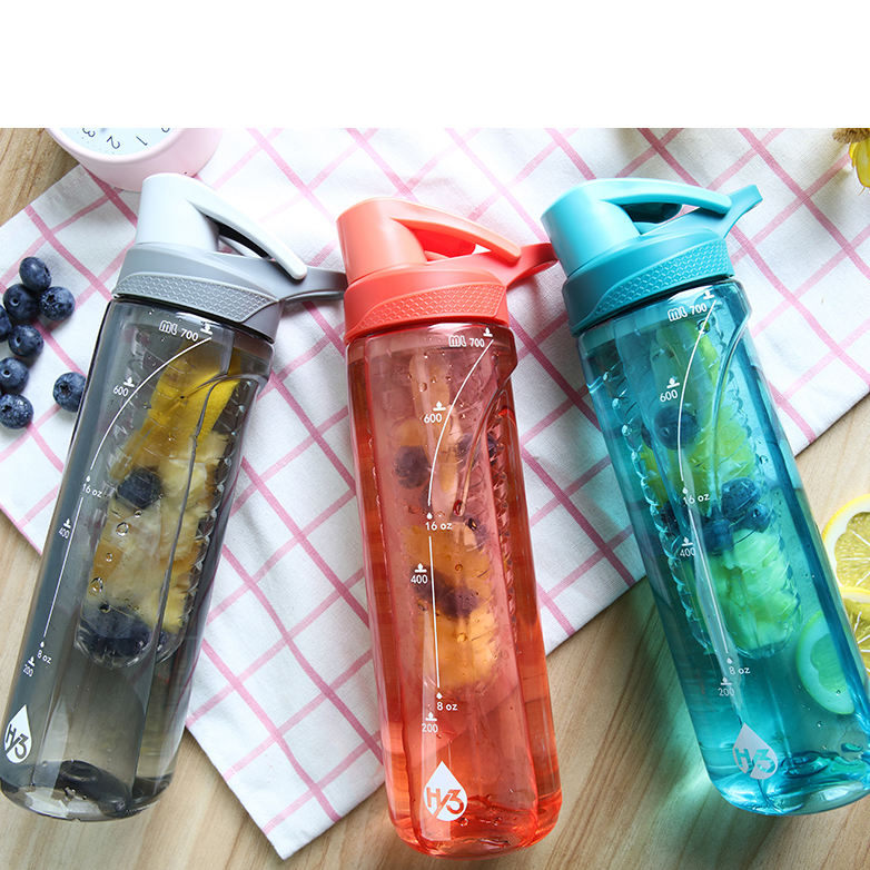 Hy3 750ml tritan fruit infuser water bottle plastic
