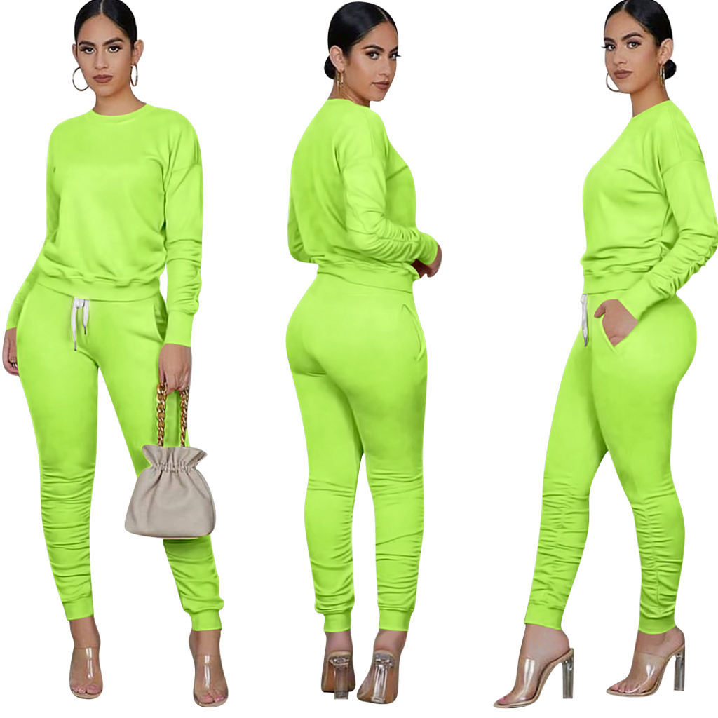 Blank custom ladies 2 piece jogging suits wholesale