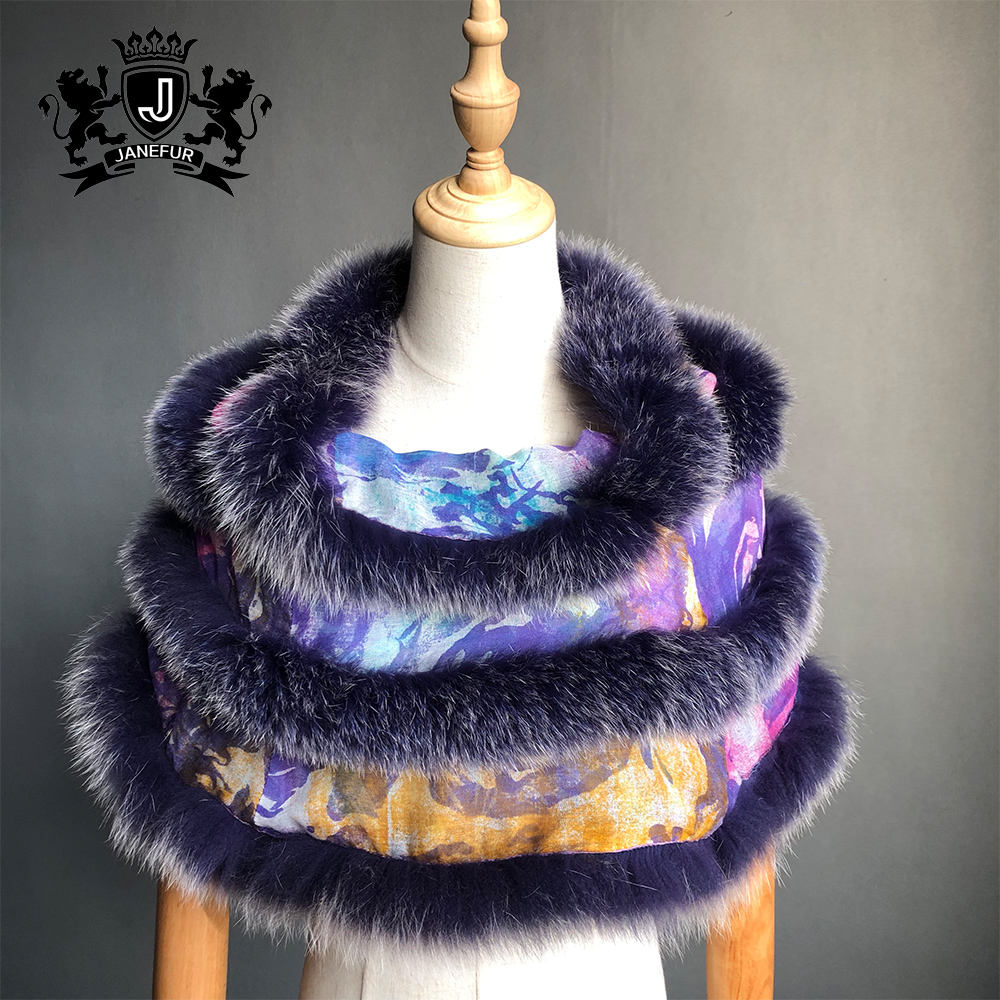 ladies cashmere waistcoat with blue fox fur winter cashmere shawls scarves