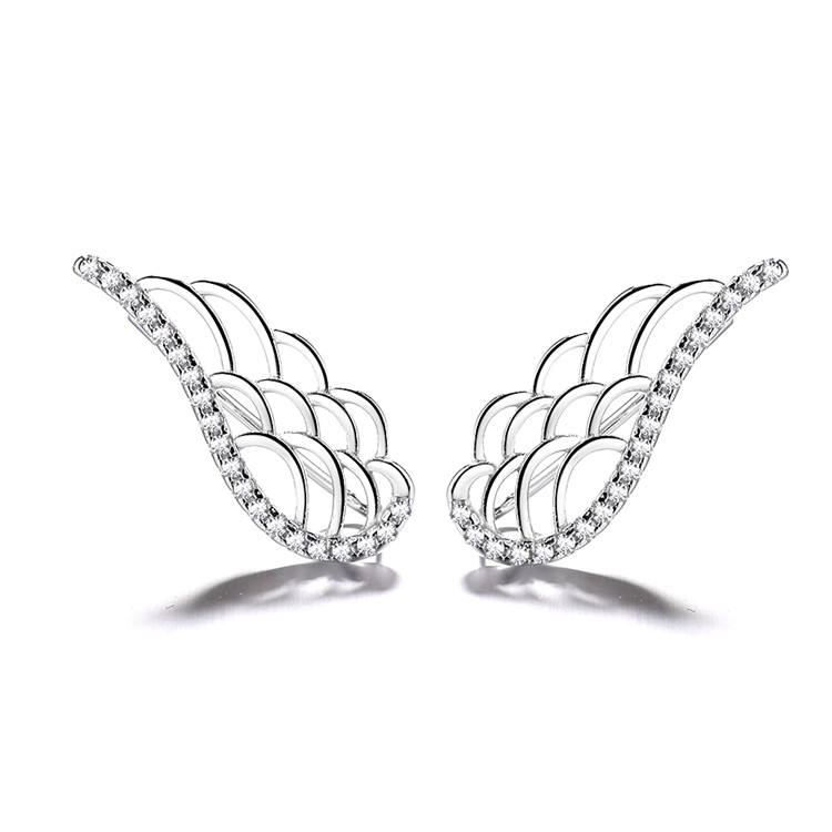 Solid Silver Wing Earrings Climber Earrings in Angel Wings Design Ear Jewelry for Engagement