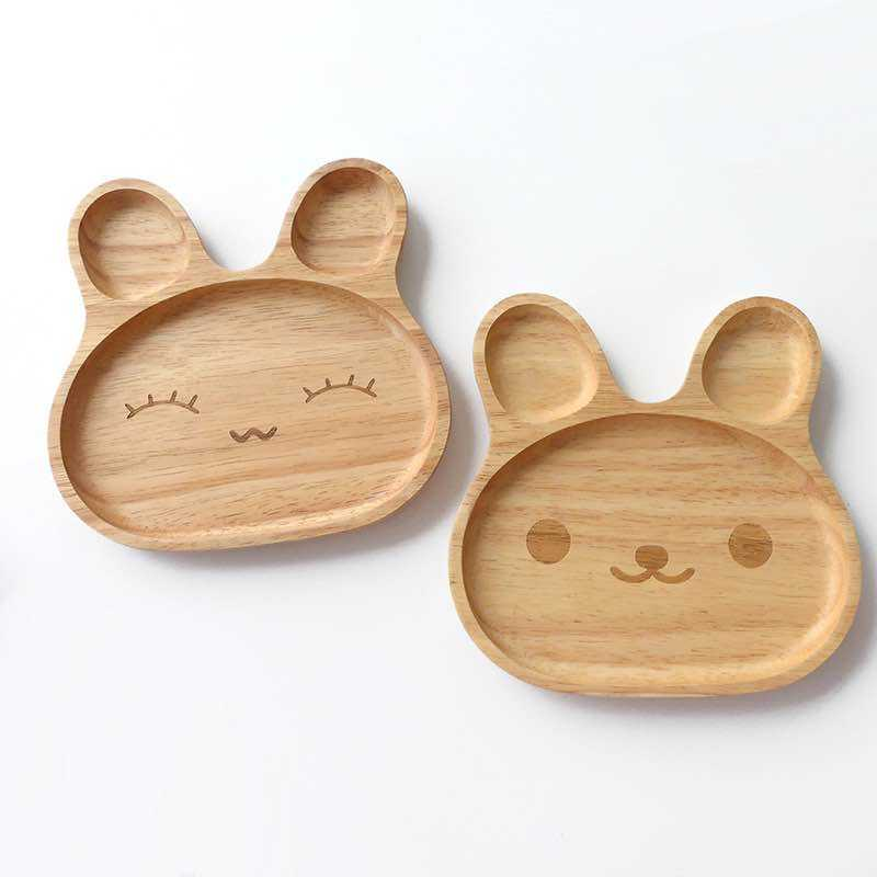 Rabbit Nature Wood Baby Divided Plate for Kids Dinnerware Set Bunny Plates