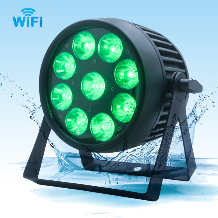 hongcheng New Design dmx led par light 9x12W Wireless battery powered, wireless battery led par, 6in1 RGBWA UV par lights