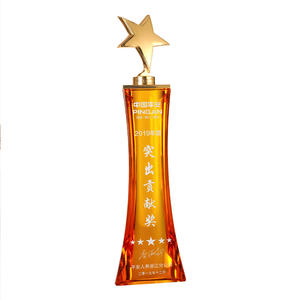 High End Custom Unieke Top K9 Amber Art Glas Awards Ster Kristallen Trofee