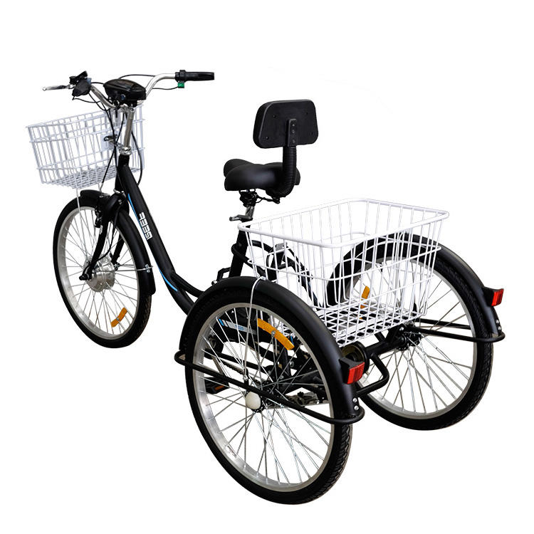 milg cheap factory custom beach bike electric occasion 3 wheel trike ce 500w adult tricycle with basket