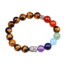 Handmade Womens Buddha Charm Agate Tiger Eye Beaded Semi-precious Natural Bead Stones Fashion Stone  Bracelet