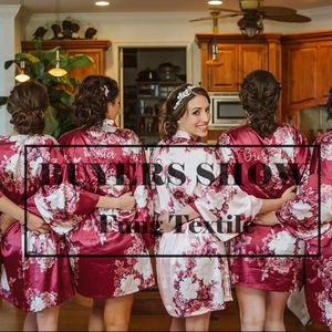 FUNG 3033 Flowers bridesmaids silk satin robe Digital Print Floral Bridal Robe China Factory Bridesmaid robe
