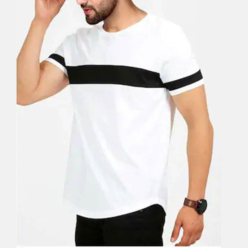 FIVE MEN Cotton Crew Neck T Shirt With Contrast Stripes