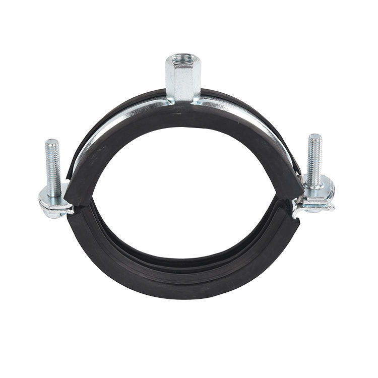 High quality M8 M10 M12 rubber two screw split ring pipe clamp electro galvanized tube clamps