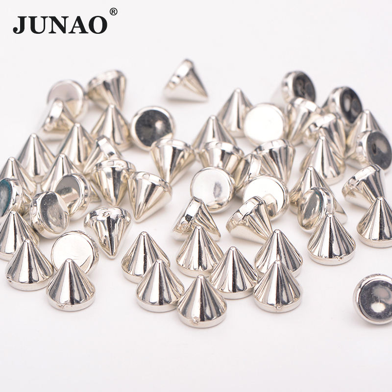 8mm S ilver Gold Color Studs Spikes Plastic Decorative Rivet Punk Rivets For Leather Clothes Jewelry Making Crafts