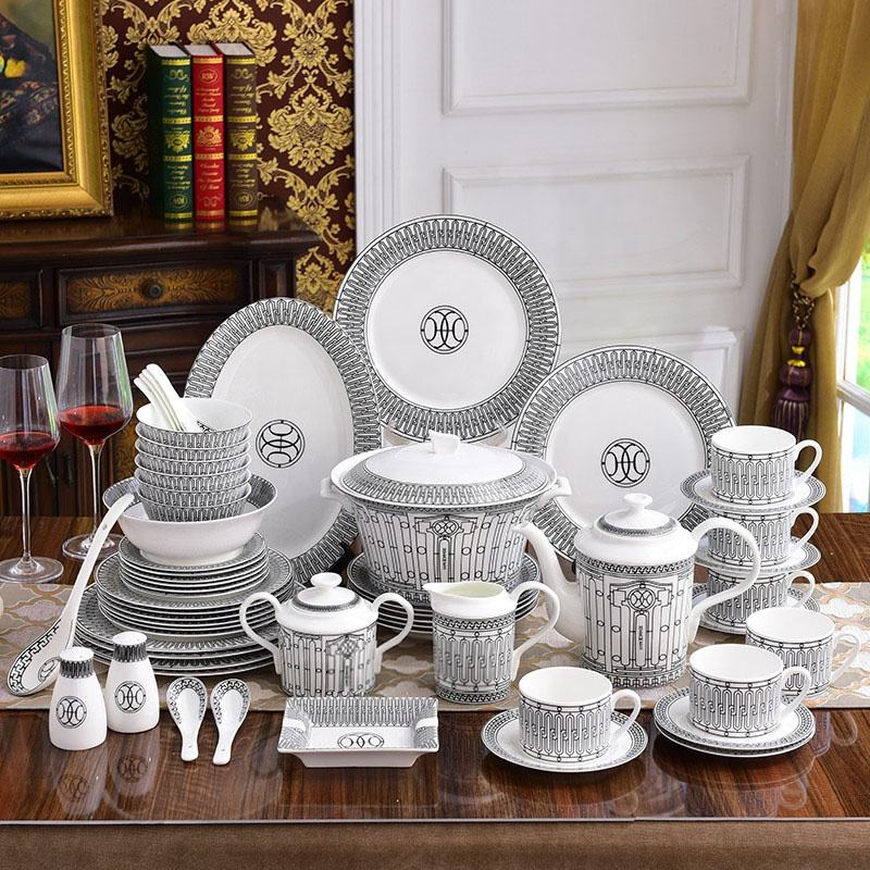 Porcelain Dinnerware Plates Set Luxury Tableware Fine Bone China Dinner Set Ceramic Dinner Sets