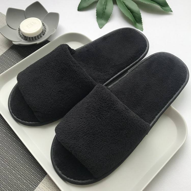 Wholesale luxury hotel room waffle indoors blank personalized washable disposable hotel slippers black