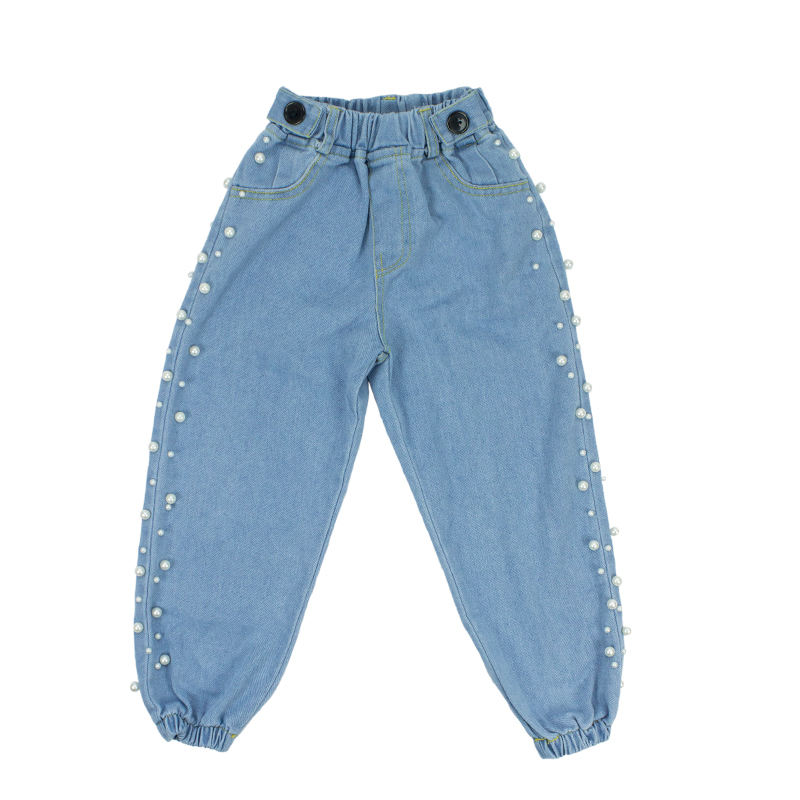 Factory New Arrival Baby Clothing Plain Denim Baby Pants Fancy Sweat Baby Trousers For Sample Free