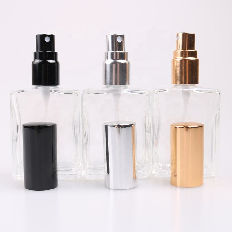 empty square 15ml perfume glass spray bottle with optional cap color