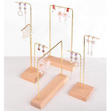 Solid wood wrought iron earrings jewelry holder studs jewelry display stand rack