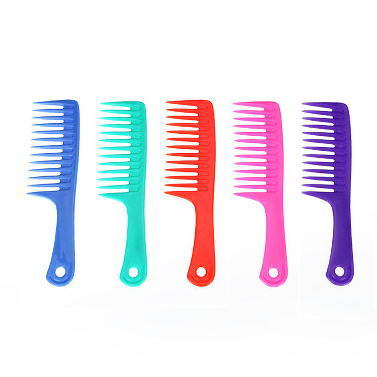 Wet Haircut Hair Comb Hairdressing Plastic Detangler Handle Wide-tooth Comb drop shipping