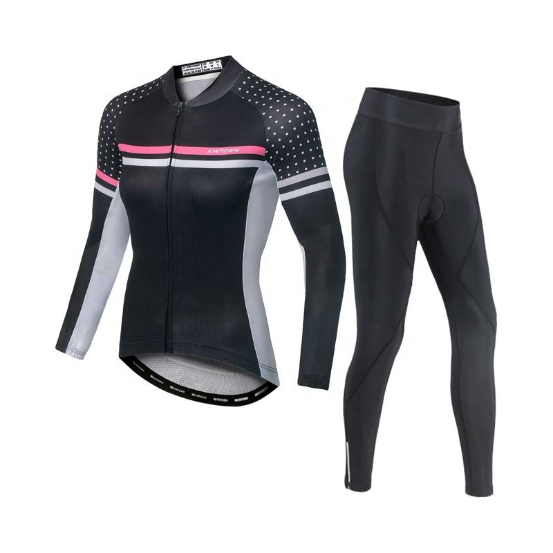 Female Bicycle Clothing Set Reflective Long Sleeve Womens Cycling Jersey Bike Riding Suit Blike Clothes Sport Wear