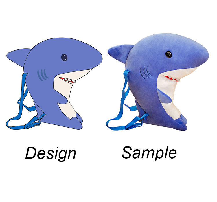 Cheap OEM/ODM back pack customized stuffed animal plush toy doll shark make your own plush toy customization