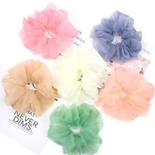 2020 Wholesale Summer Women Elastic Rubber Bands Ponytail Holders Accessory Solid Color Large Mesh Hair Scrunchies For Girls