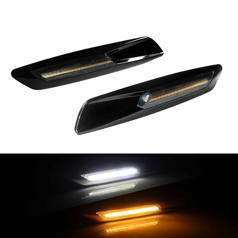 Glossy Black Finish Fluid Style Amber/White Full LED For BMW 1 3 5 Series X1, For BMW F10 Style Replace OEM Sidemarker Lamp