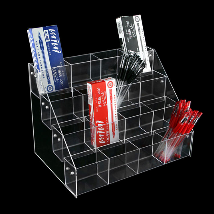 CNC machined clear acrylic penholder for stationer water-based pen holder