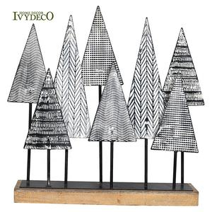 IVYDECO 3D Personalized Ornament Black White Mini Wrought Iron Metal Christmas Tree With Wooden Pedestal Table Decoration