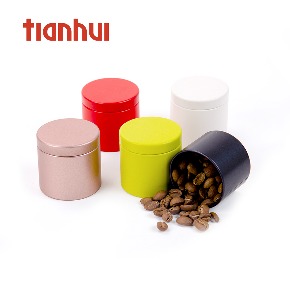 Small Empty Weed Packaging Coffee Round Containers Tea Metal Tin Can