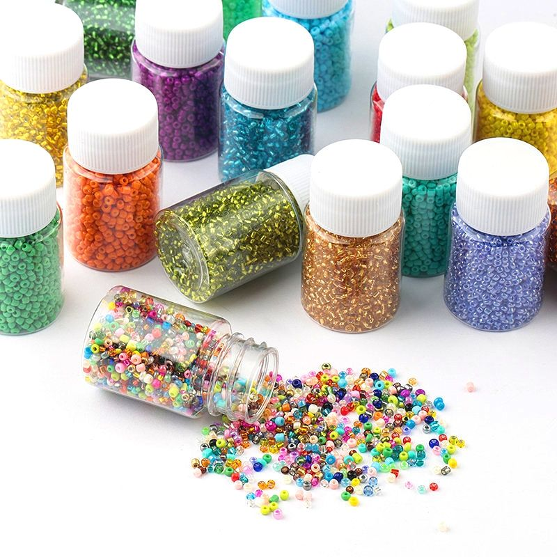 1500pcs Bottled 2mm Glass Seed Beads Charm Czech Beads Small DIY Glass Seed Beads for DIY Jewelry Making Accessories