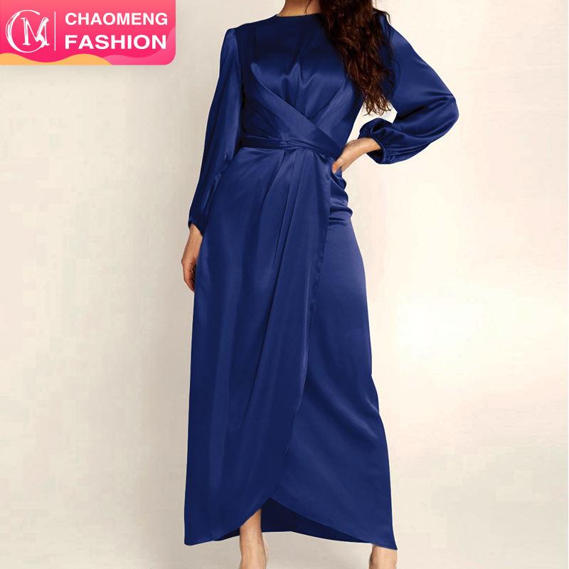 6345# Muslim Dress Abaya in Dubai Islamic Clothing For Women Modest Fashion Tie Belt Satin Dress