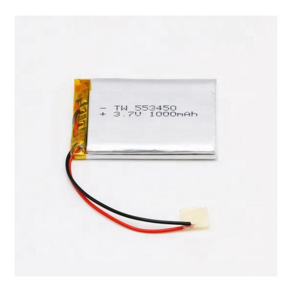 553450 3.7v 1000mah lpb power jst plug single cell quadcopter diy solar energy storage rectangular lithium polymer ion battery