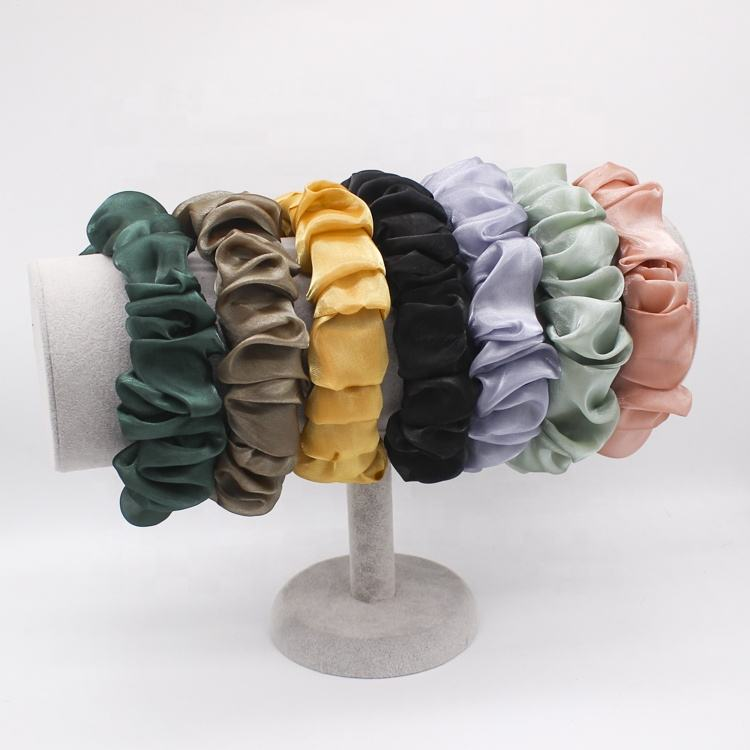 High Quality Colorful Hair Accessories Headbands Fashion Bright Silk Winkle Headbands For Girls Women