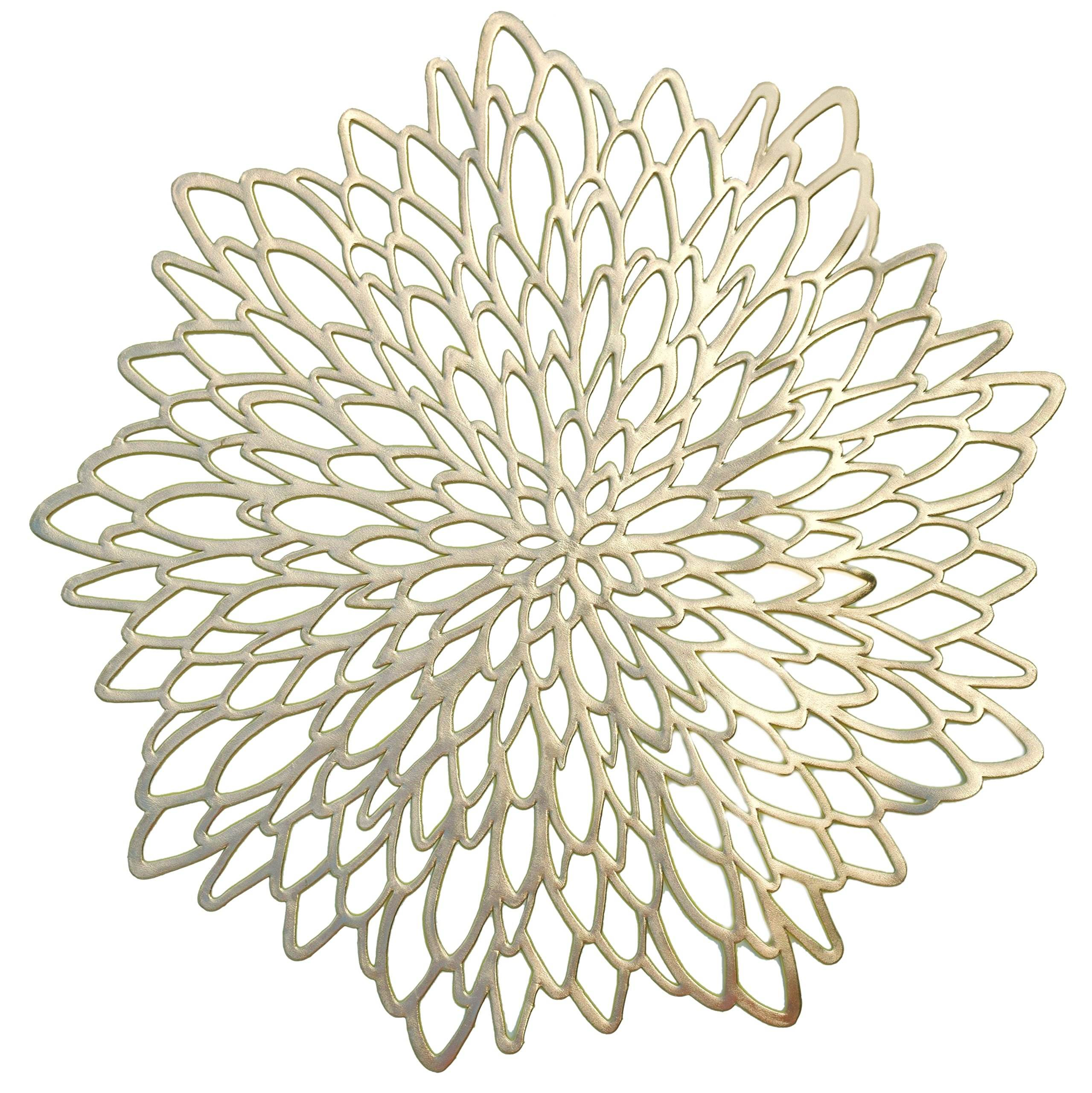 PVC Pressed Vinyl Metallic Placemats/Wedding Accent Centerpiece Placemats Cutwork Decorative Dinning Table Mats