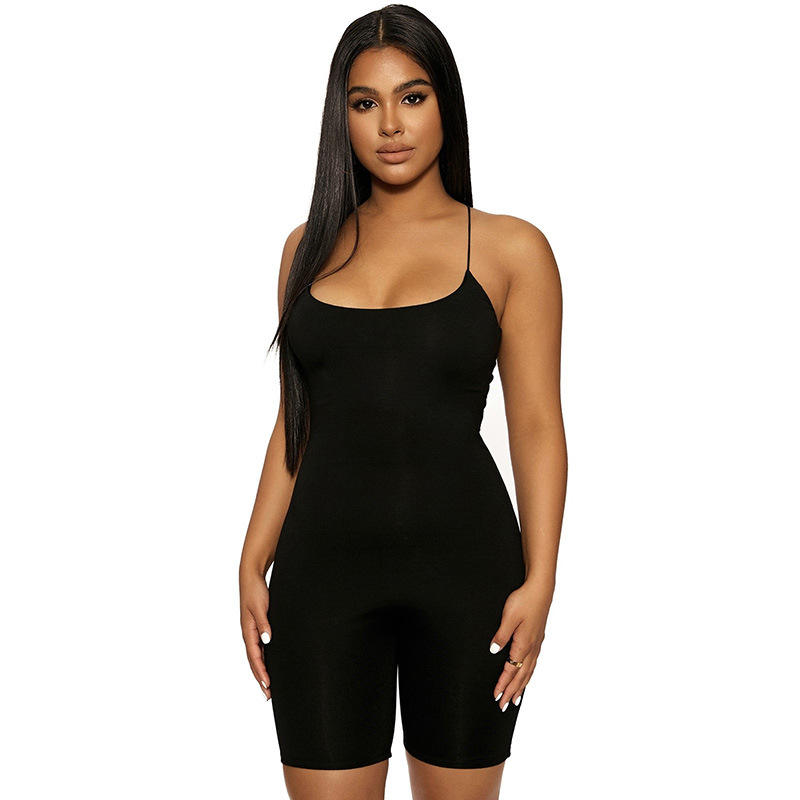Grosir Fashion Wanita Rompers One Piece Wanita Kasual Hitam Bodycon Jumpsuit 2020