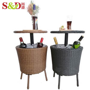 Adjustable height rattan cooler table beer ice bucket wine champagne bottle chiller