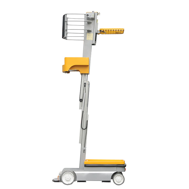 Aluminum mast self propelled stock picker manlift electric order picker work platform lifts