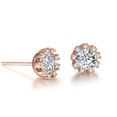 Hot Selling Simple New Design Mini Round Cut 6mm CZ Diamond Copper Alloy Ear Piercing Stud Earring for Women Wedding Party Gift