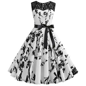 High Quality Vintage Women Hollow Out Party Dress Summer Black Printed Flare Hem Girls Laces Fashionable Clothes