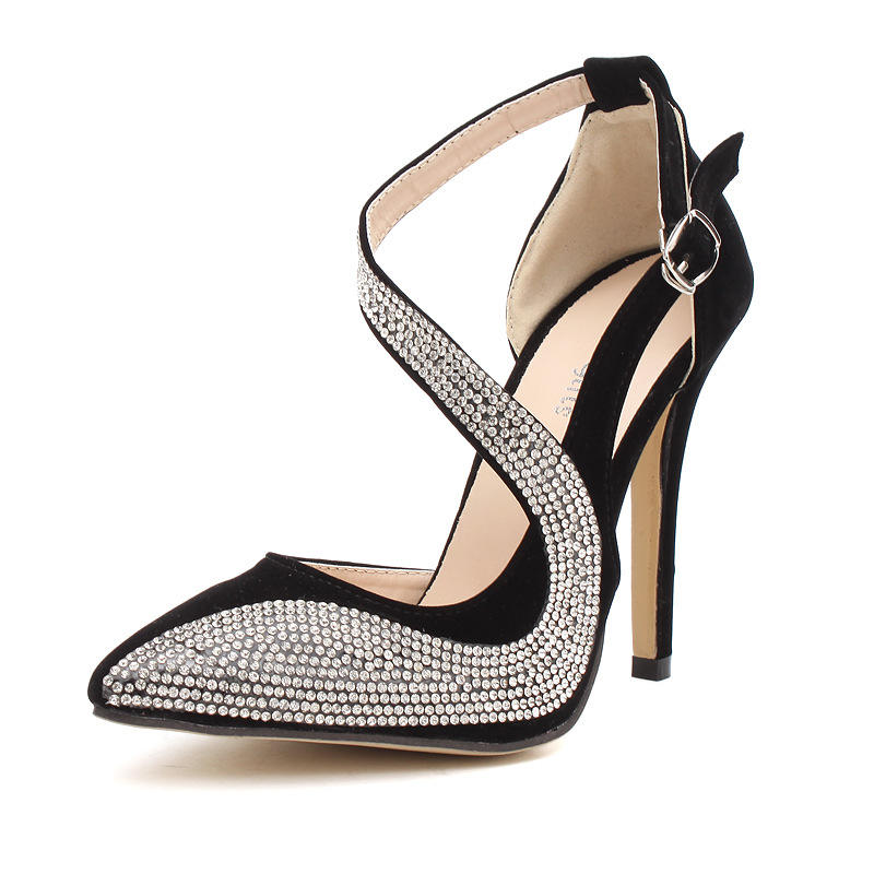Zapatos Para Mujer Low MOQ Elegant Stiletto Style Ladies Rhinestone Shoes Sexy Women Heels with Us Shoe Size Chart