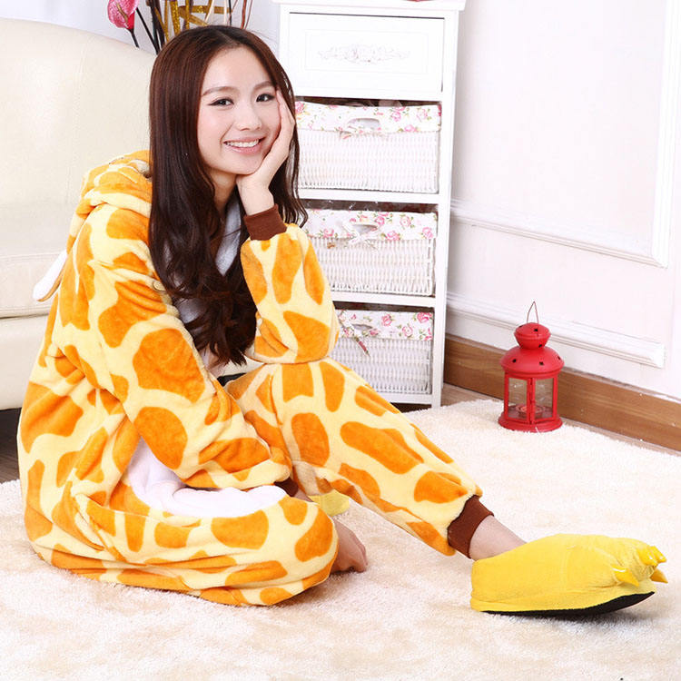 Flannel Giraffe Cartoon Animal Onesies For Women Performance Womens Pajamas