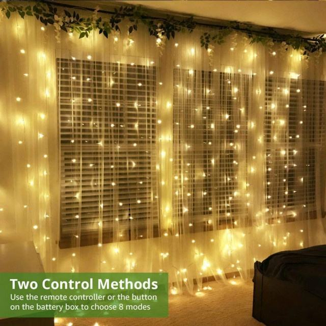 300 LED 8 Modes Window Curtain String Light Indoor Outdoor Decorative Christmas Twinkle Lights for Bedroom led curtain light