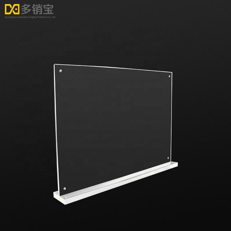 Standing a4 cross acrylic magnetic sign holder for supermarket